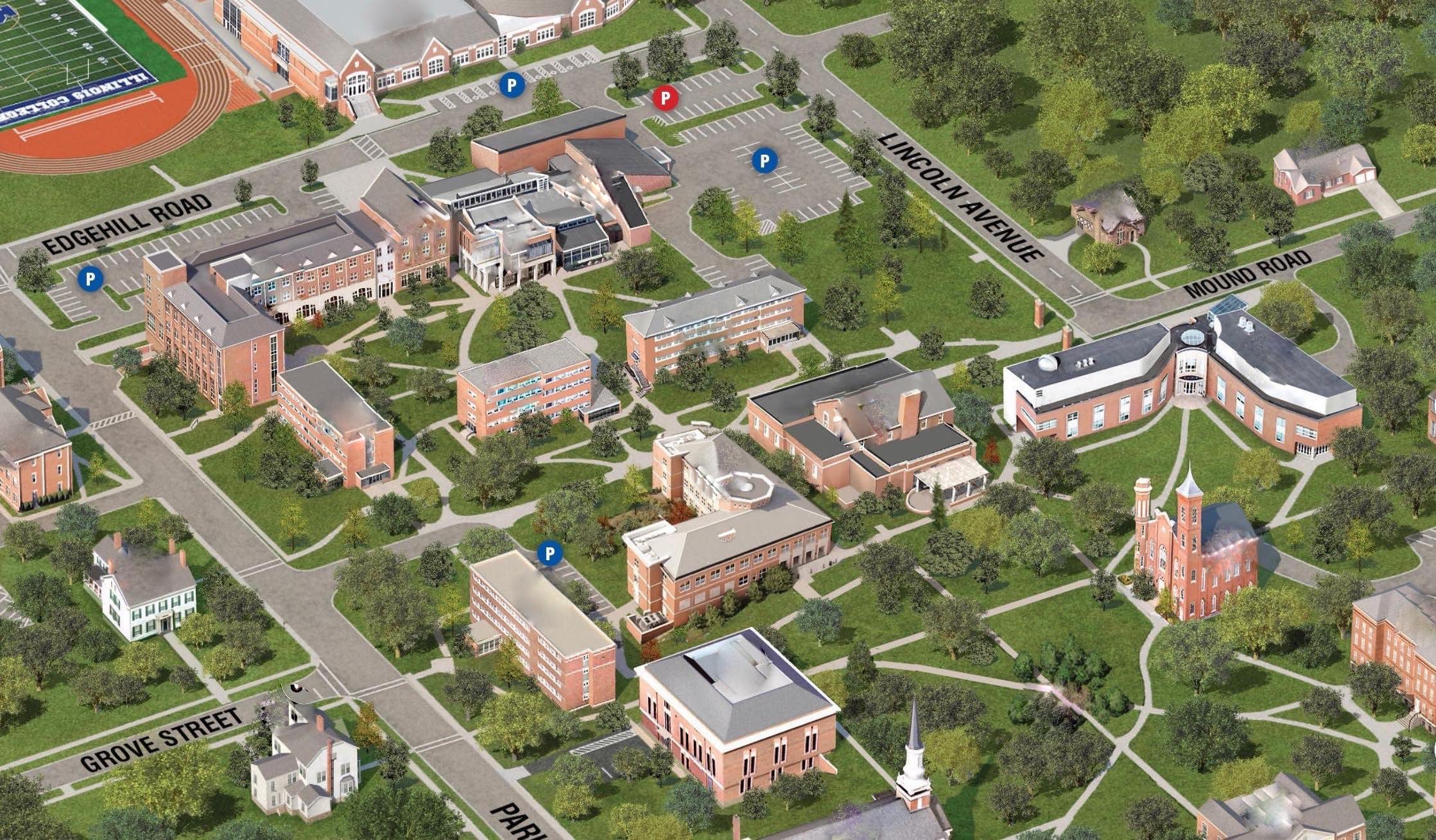 Illinois College Campus Map.Facilities